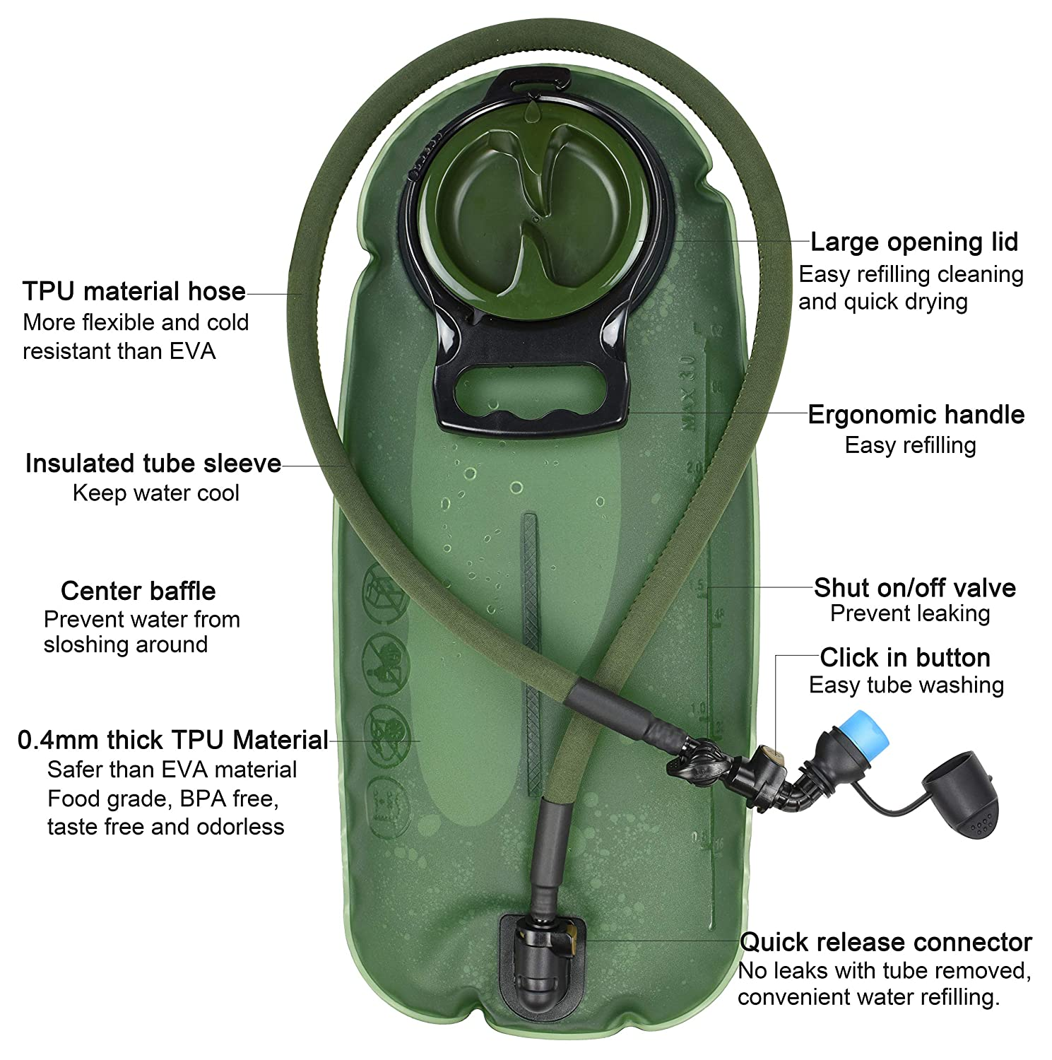 3L Green 100oz Tasteless BPA Free Water Reservoir Bag with Insulated Tube for Hydration Pack for Cycling Biking Hiking Climbing Running MARCHWAY 2L//2.5L//3L TPU Hydration Bladder
