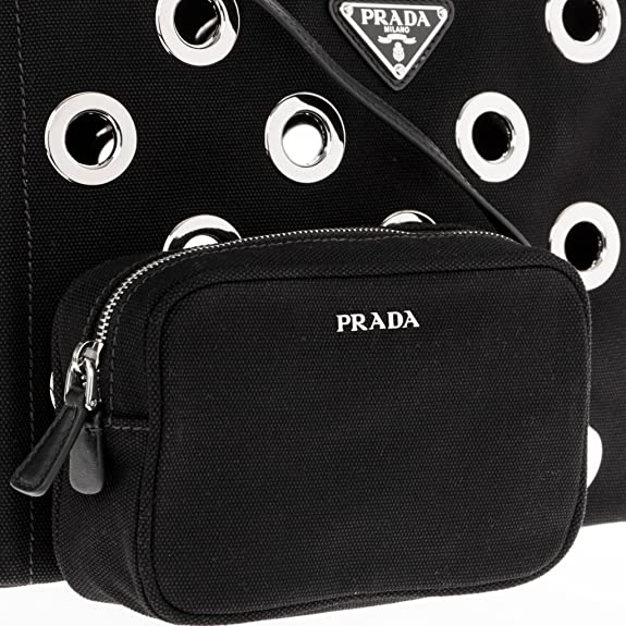 95880683c31106 ... shop amazon prada womens canapa grommet small garden tote bag black  shoes 23649 28dd8