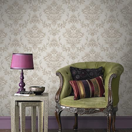 Designer Laurence Llewelyn Bowen Johor Damask Subtle Glitter Gold Wallpaper