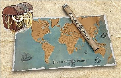 Scratchy Planet - mapamundi para rascar con un estilo vintage, atlas de rascar, Mapa del mundo para rascar, mapa del mundo para rascar XL, nombres de los países y ciudades auténticas: Amazon.es: