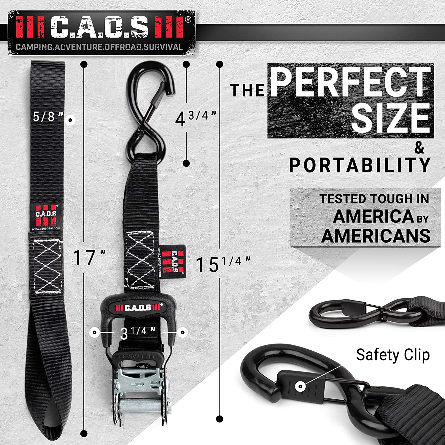 CAOS Gear Motorcycle Ratchet Straps, Pack of 2, Black, to Secure Car, Truck, ATV - Premium, Heavy-Duty Tie Down Straps for Trucks, made with Coated Steel, Chromoly - Durable Soft Loop Tie Down Kit (2): Automotive