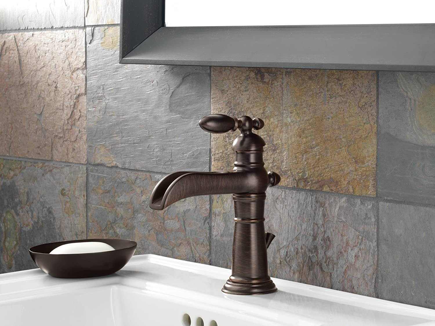 Delta Faucet 554LF RB Victorian Single Handle Single Hole Waterfall Bathroom  Faucet, Venetian Bronze   Touch On Bathroom Sink Faucets   Amazon.com