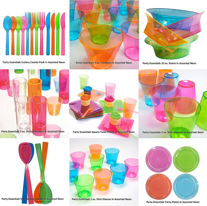 quadratisch 340 ml 10 St/ück 6.5 Dessert Plate 10-Count Verschiedene Neonfarben Party Essentials Salatschalen//Snackschalen aus Hartplastik