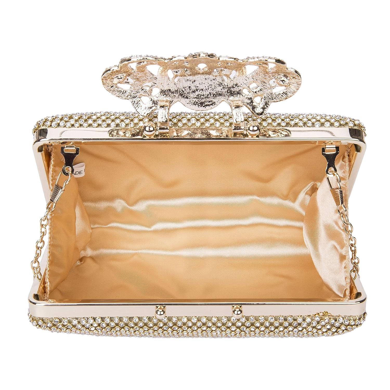 SYMALL Mujer Bolso de Mano con Diamantes Cristales Brillantes Cartera de Mano Estilo Elegante de Lujo Cluthes de Fiesta