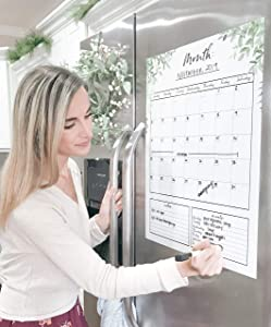 Dry Erase Board Calendar Magnetic Monthly Calendar Planner for Fridge 16 X 20 Large Calendar Kitchen Whiteboard with Meal Planner