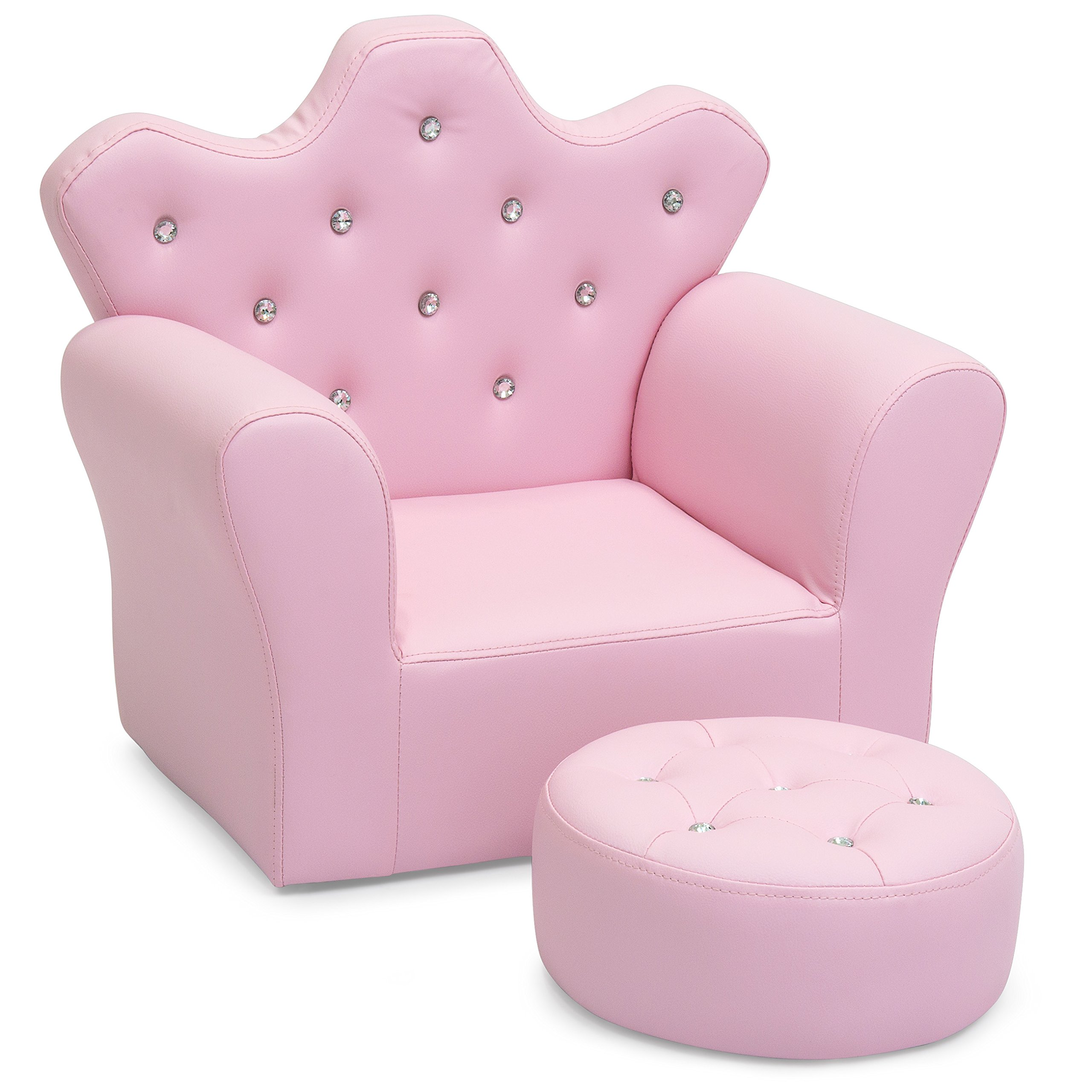 Best Choice Products Kids Upholstered Tufted Bejeweled Mini Chair Seat w/Ottoman - Pink