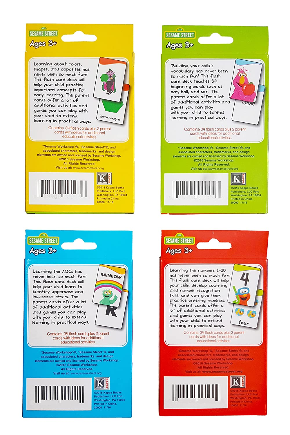 Numbers and Beginning Words. Sesame Street Educational Flash Cards for Early Learning Set includes Colors ABCs Shapes /& More