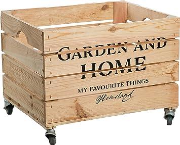 amazon de kiste mit rollen garden and home obstkiste aus