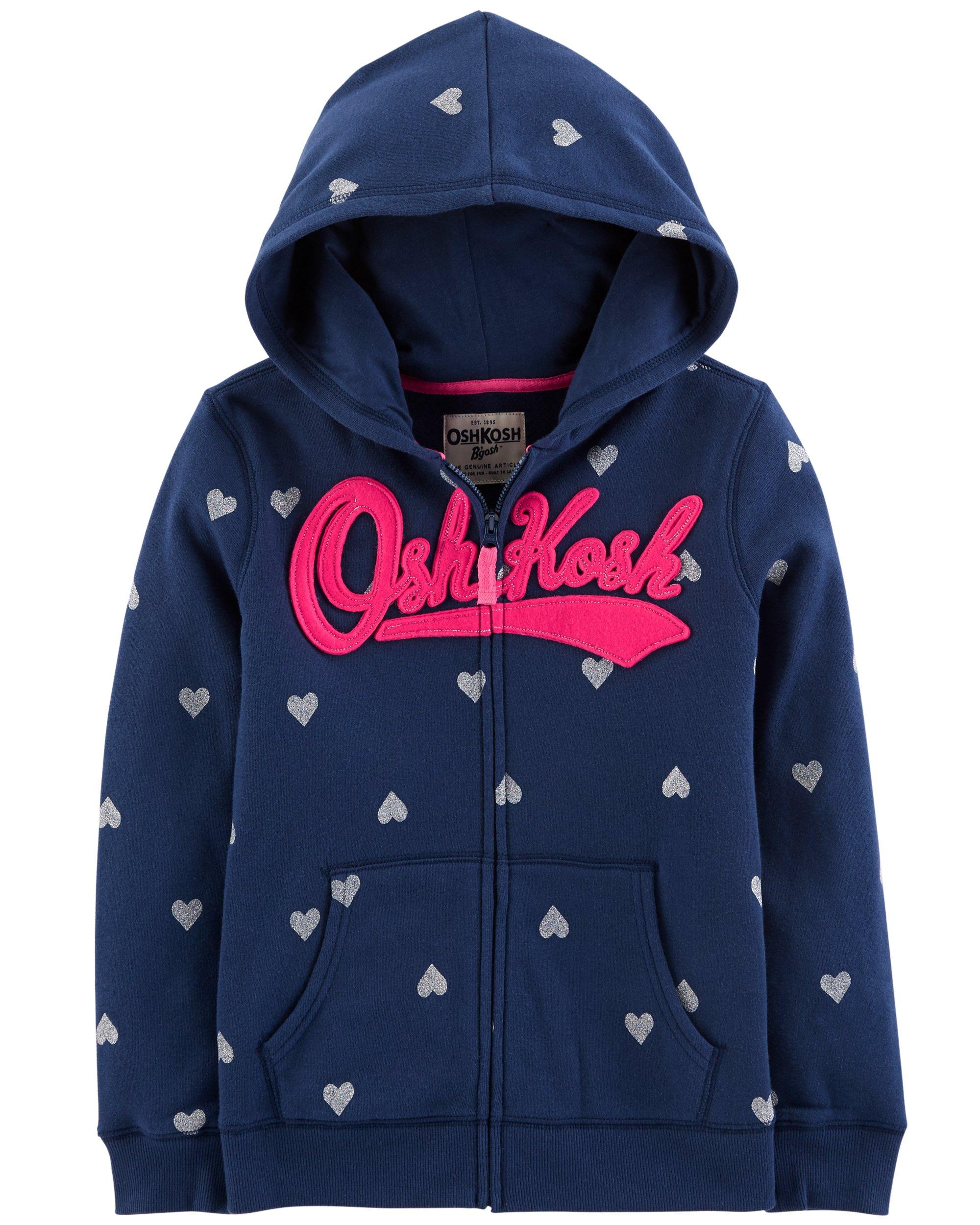 OshKosh B'Gosh Girls' Kids Full Zip Logo Hoodie, Navy Heart, 8