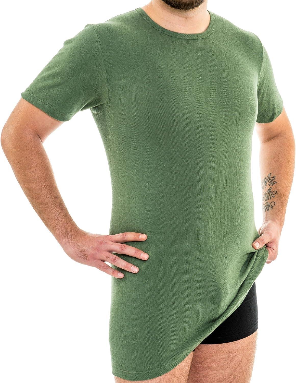 HERMKO 3847 Maillot de Corps Manches Courtes Extra-Long pour Homme +10cm