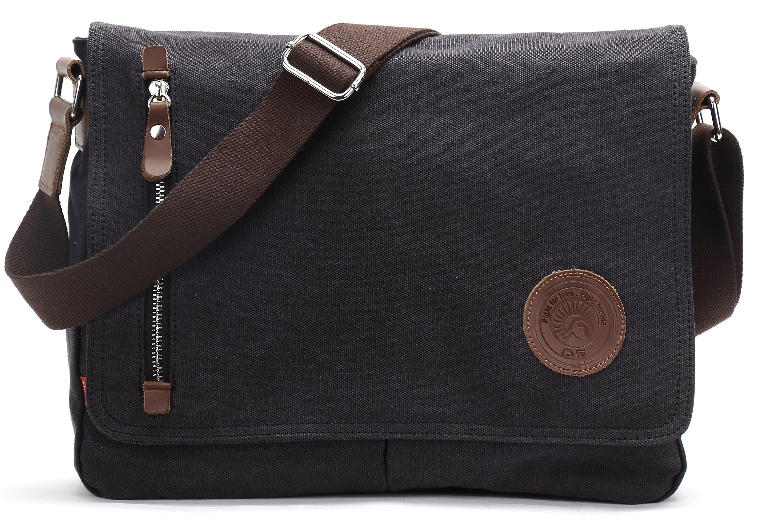 Canvas Satchel Messenger Bag By Magictodoor 13.5'' Laptop Bag (8501 Black)