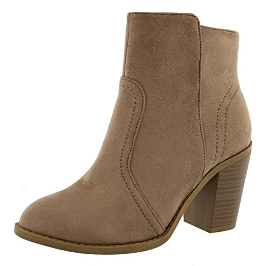 Women's Western Almond Toe Stacked Chunky Heel Ankle Bootie