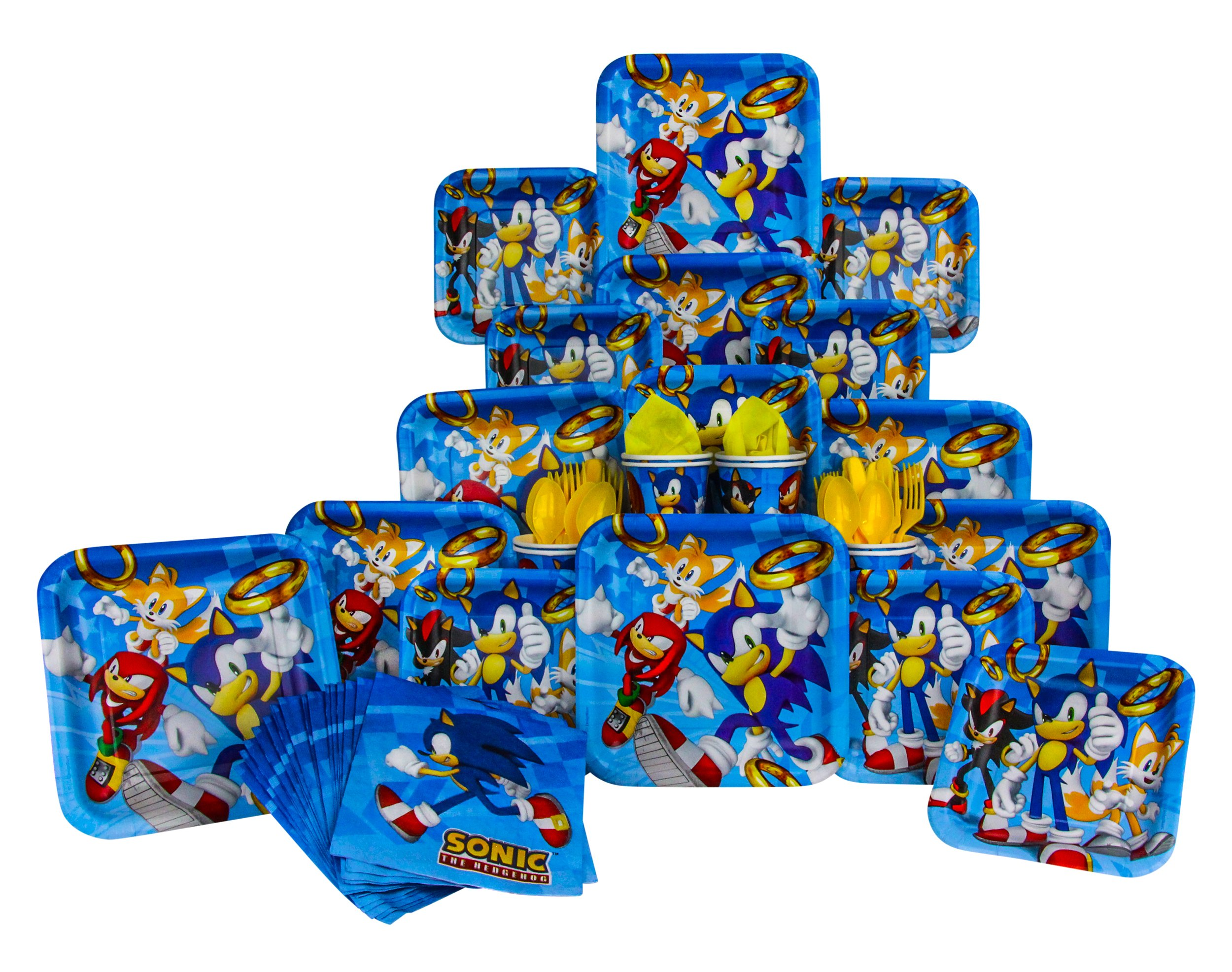 Sonic The Hedgehog Party Pack Seats 8 Napkins Plates Cups Cutlery Sonic The Hedgehog Party Supplies Deluxe Party Pack Buy Online In Dominica B There Products In Dominica