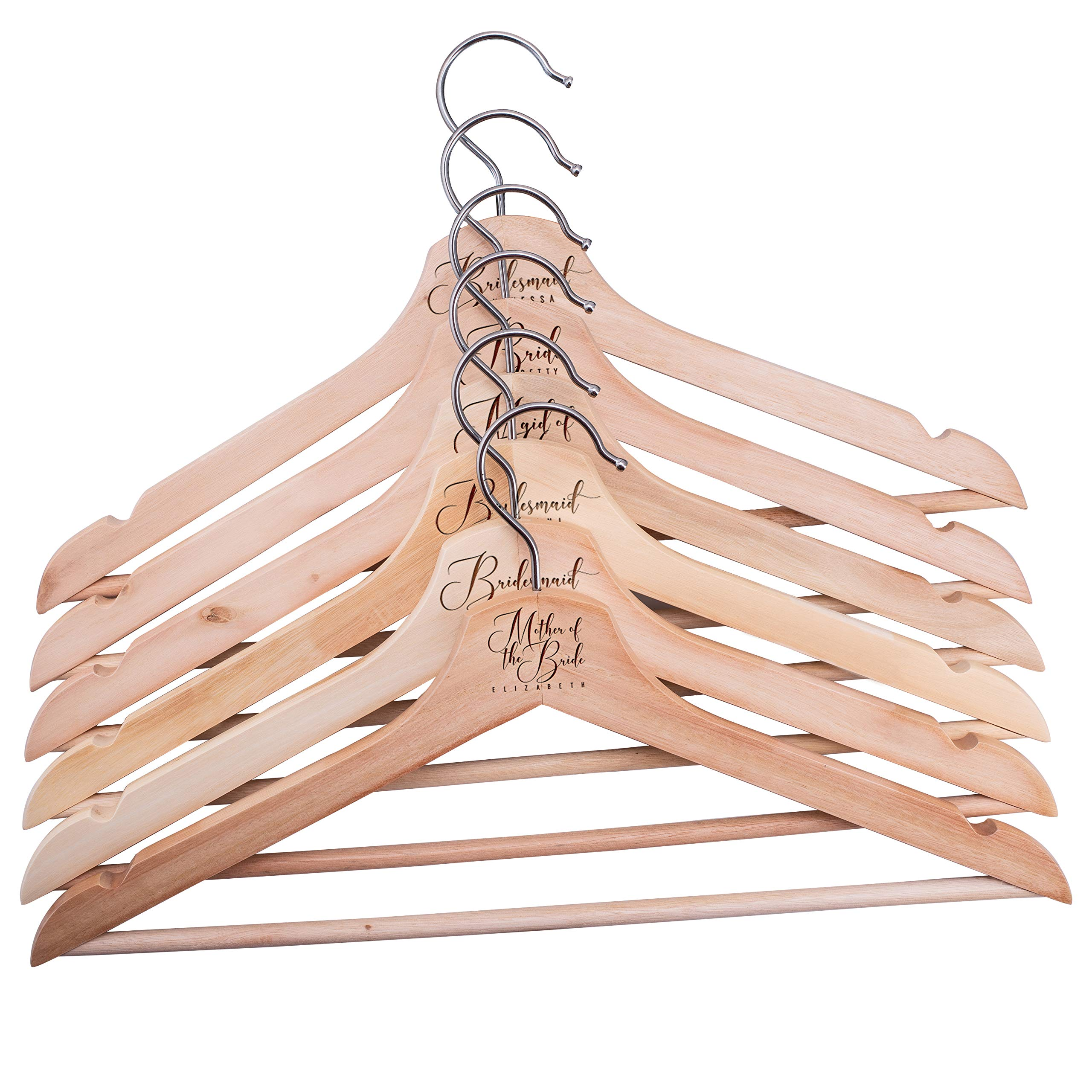 United Craft Supplies Personalized Clothe Hangers for Bridesmaid, Bride, Groomsmen and Grooms, Design 2, Set of 6 by United Craft Supplies