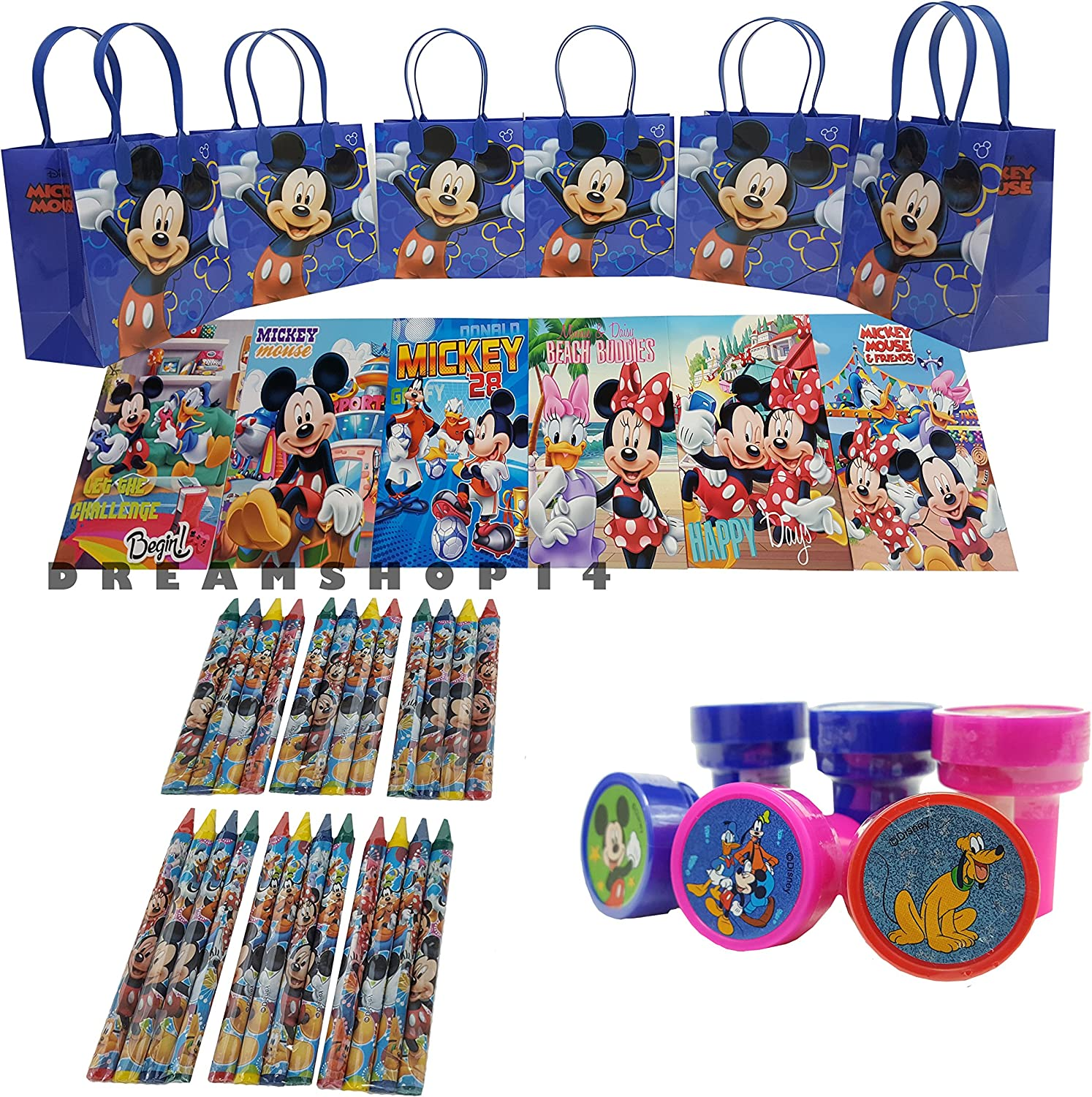 6 sets Mickey Mouse Party Favor Birthday party goody candy gift bags 42 Pcs