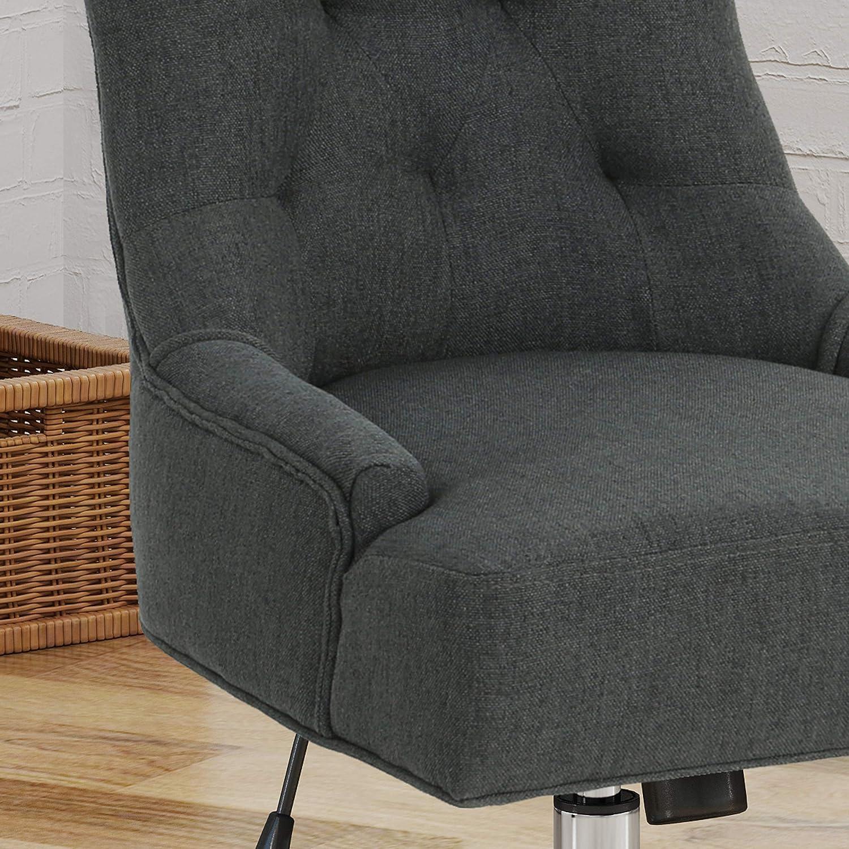 GDF Studio Sabrina Americo Home Office Fabric Desk Chair, Wheat Dark Gray + Chrome