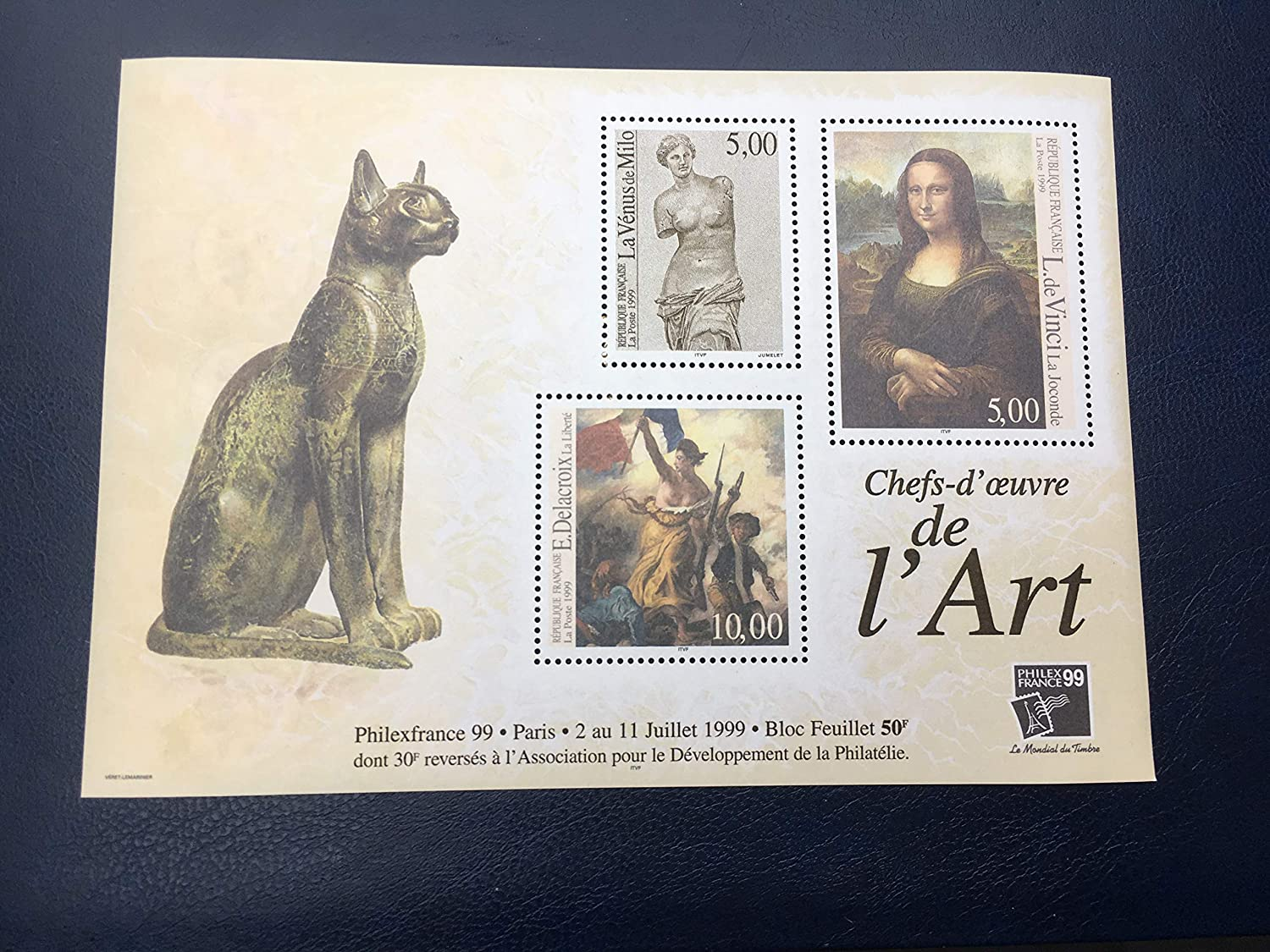 Joconde Chat Bloc Collection n 23 Neuf Timbre France 1999 Peinture...