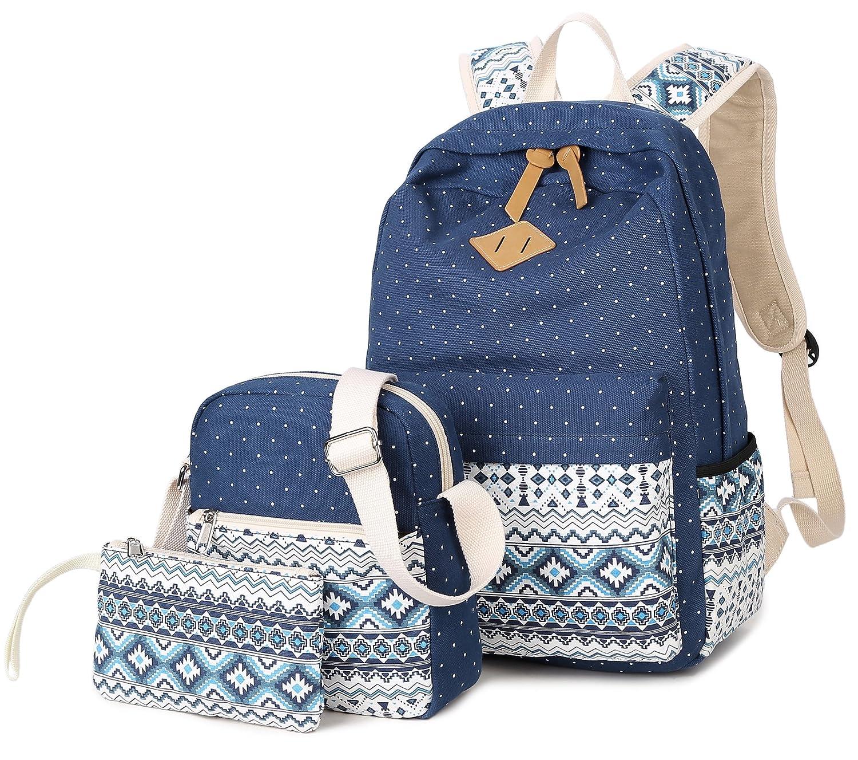 DCCN Canvas School Backpack 3Pcs//Set Casual Student Rucksack Pencil Case Shoulder Bag
