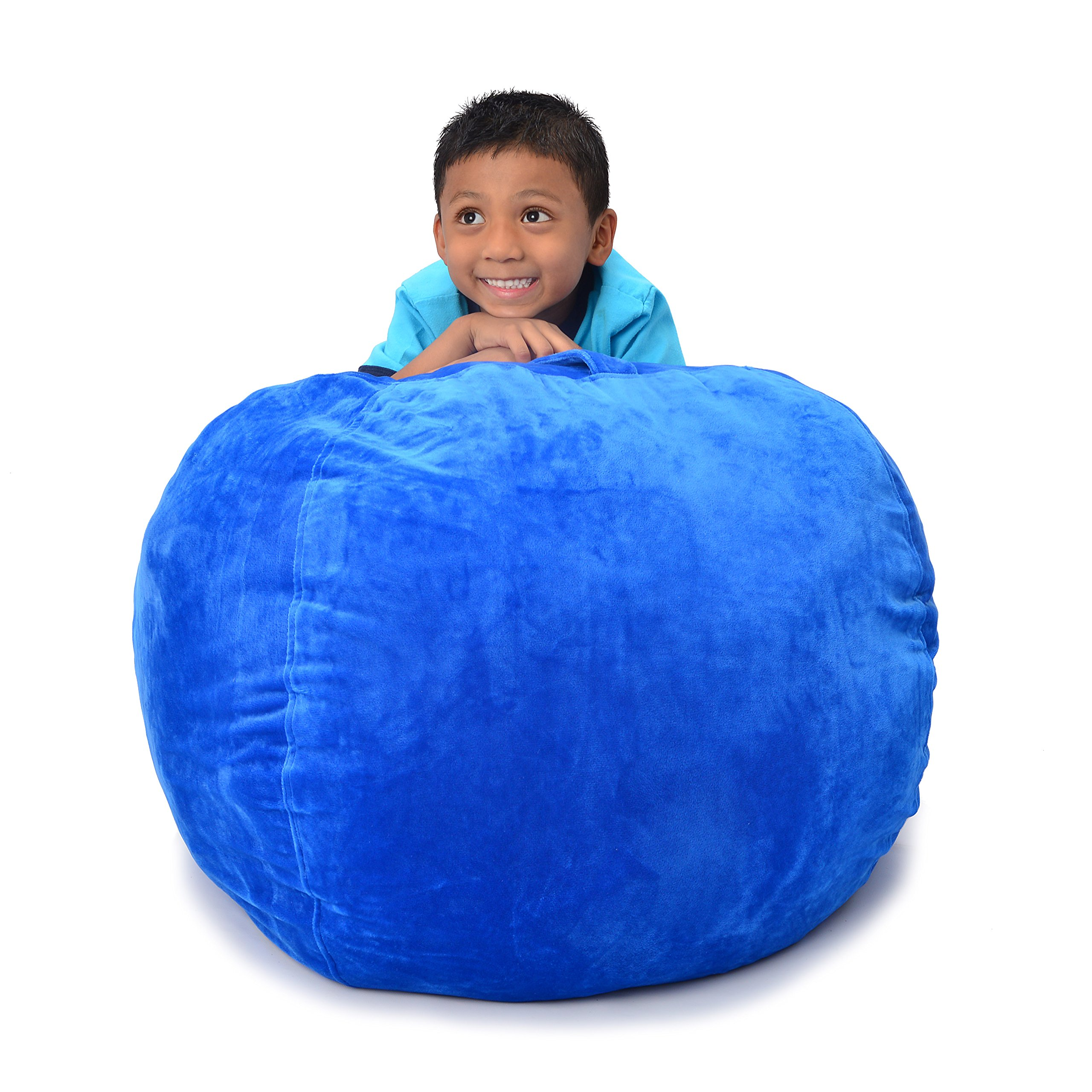 ddmy import inc Stuffed Animal Storage Bean Bag Blue Extra Large 38 Inch Size Extra Soft Perfect Storage Solution For Kids Stuffed Animals Toys Or Household Supplies Kids Organizer