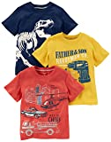 Carter's Boys' Big 3-Pack Short-Sleeve Graphic Tees, Dino/Construction/Rescue, 8