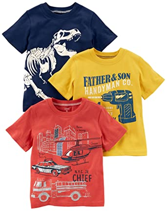 67cb5b2e3eab8 Amazon.com: Carter's Boys' Toddler 3-Pack Short-Sleeve Graphic Tee: Clothing