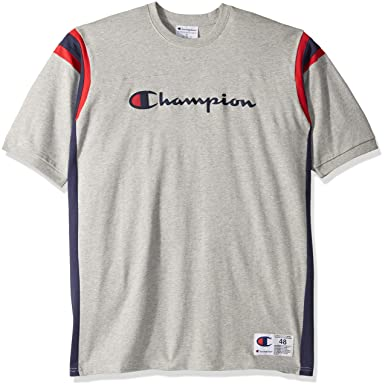 d91bbf38 Champion LIFE Men's Heavyweight Football Tee, Oxford Grey/Imperial Indigo,  X-Large