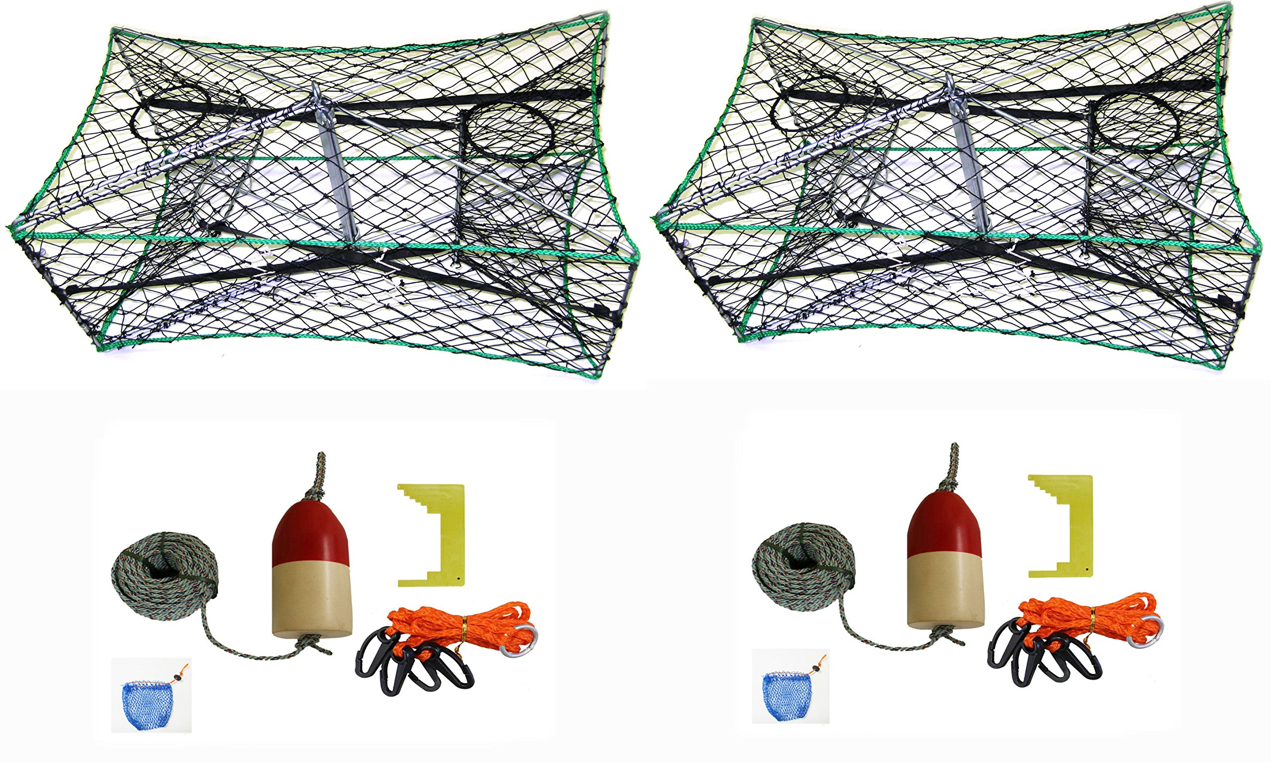 2-Pack of KUFA Galvanized Foldable Crab Tra & Accessory Kit (100' Lead CoreRope, Clipper,Harness,Bait Case & 11'' Red/White Float) (S33+CAQ1)x2