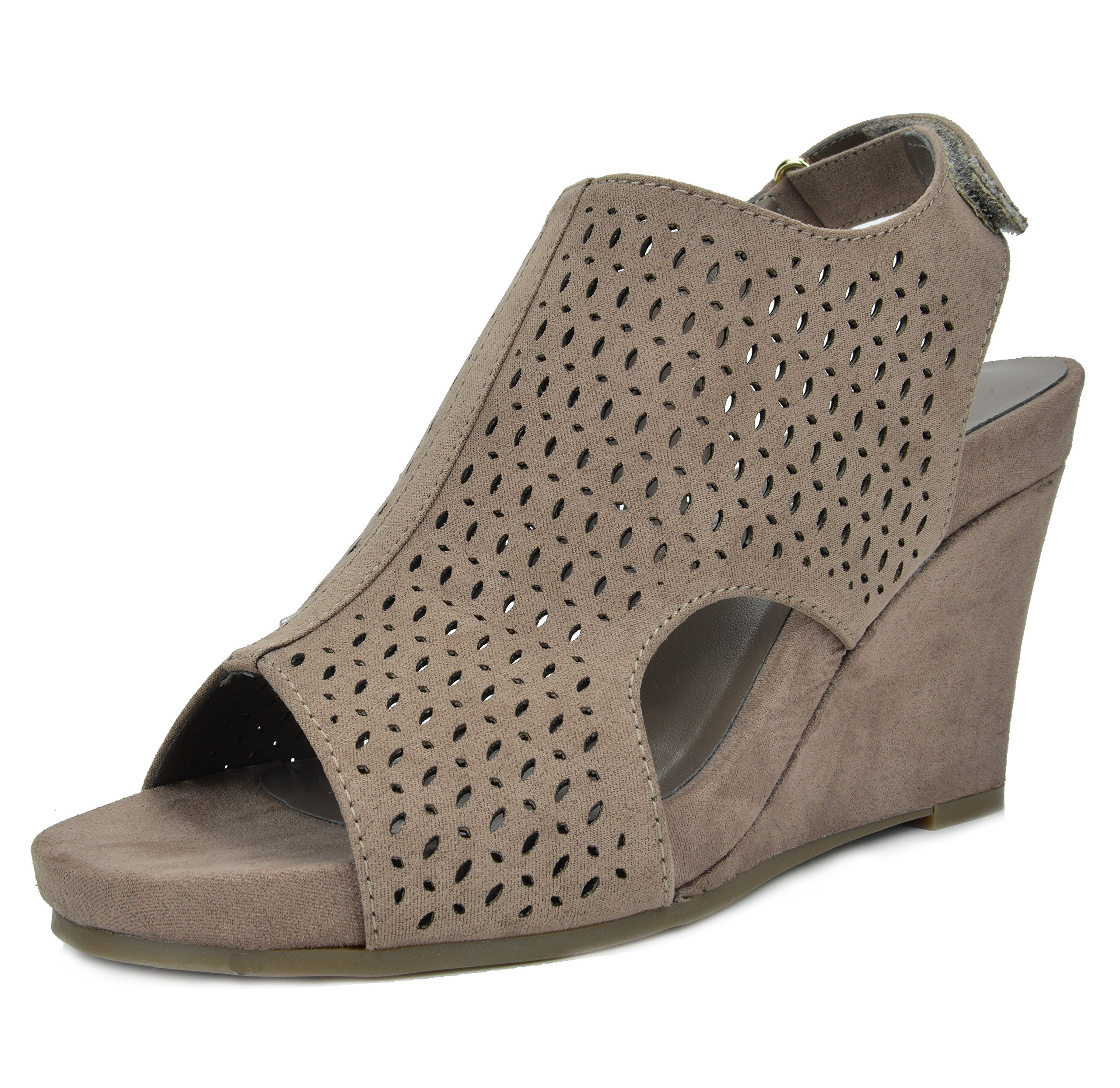 TOETOS Women's Solsoft-6 Taupe Mid Heel Platform Wedges Sandals - 9.5 M US