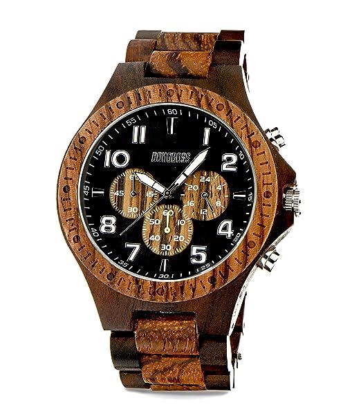Bonoboss Petrohué - Reloj Cronógrafo de Madera para Hombre Mov. de Cuarzo: Amazon.es: Relojes