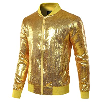 Men/'s Slim Fit Shiny Jacket Baseball Collar Sequined Long sleeve Zipper Stage D