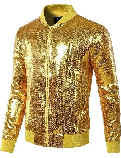 d090fd1a7 JOGAL Mens Sequins Nightclub Styles Zip up Varsity Baseball Bomber Jacket