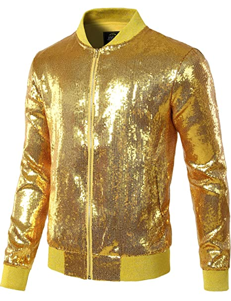 359a95b32e4 JOGAL Mens Shiny Sequins Nightclub Styles Zip up Varsity Baseball Bomber  Jacket Small A346 Gold