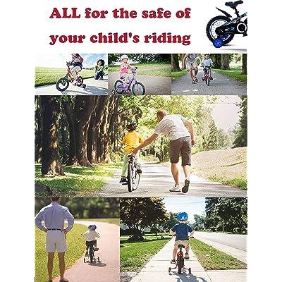 KRESSF Training Wheels Flash Mute Wheel Bicycle stabiliser Mounted Kit Compatible for Kids Boy Girls Bikes of 12 14 16 18 20 Inch