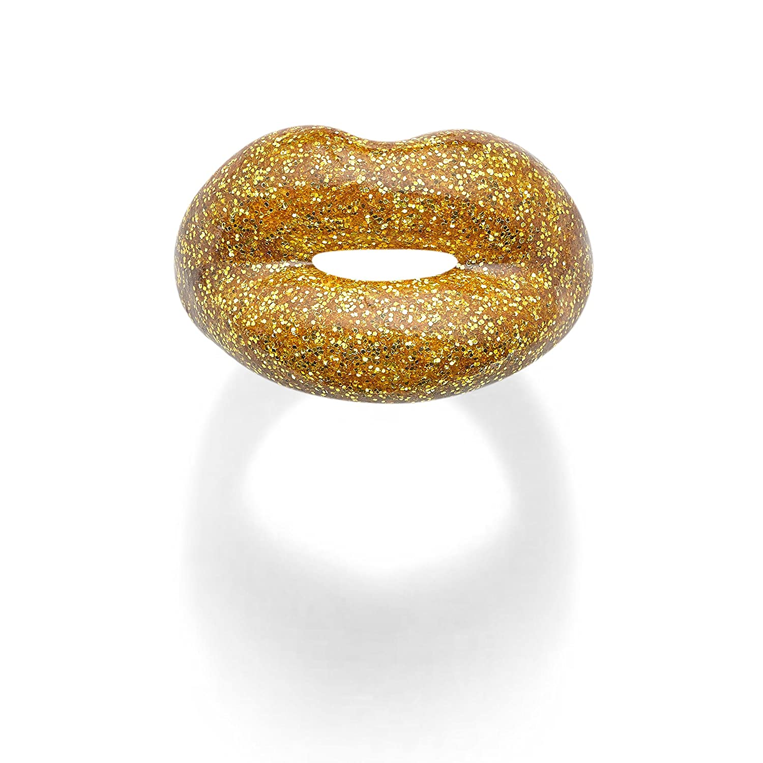 Solange Azagury-Partridge HOTLIPS Glitters Lacquered Golden Gold Ring ajXHXT1h8