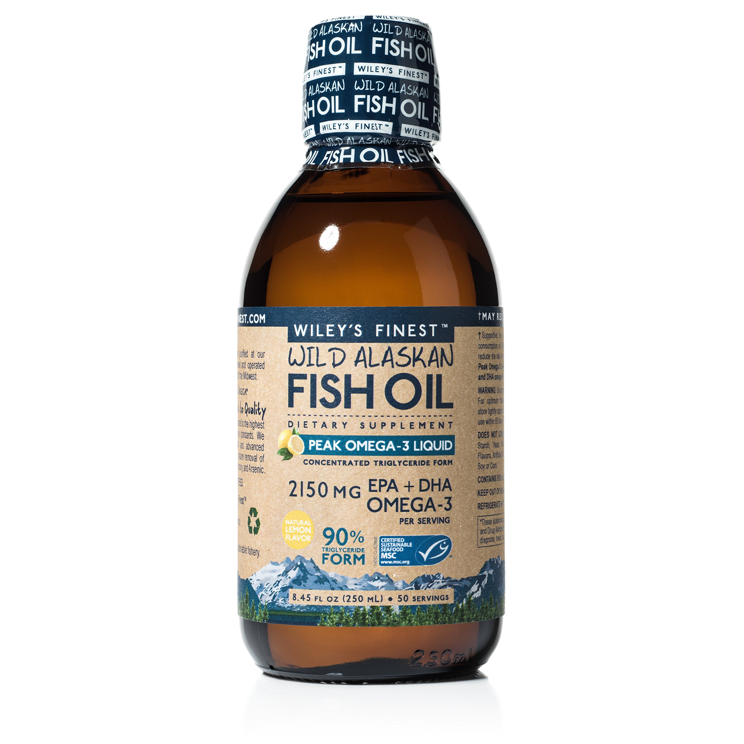 Wiley's Finest Peak Omega-3 Liquid 2150mg EPA + DHA Omega-3 Natural Wild Alaskan Fish Oil Supplement 50 Servings by Wiley's Finest