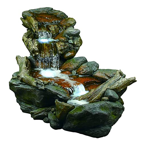 Alpine Corporation 3-Tier Rainforest Rock Water Fountain with LED Lights – Outdoor Water Fountain for Garden, Patio, Deck, Porch – Yard Art Decor