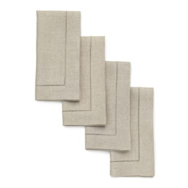 Solino Home Hemstitch Linen Napkins - 20 x 20 Inch, Natural Set of 4 European Flax Dinner Napkins - Machine Washable Classic Hemstitch - Natural Fabric, Handcrafted with Mitered Corner
