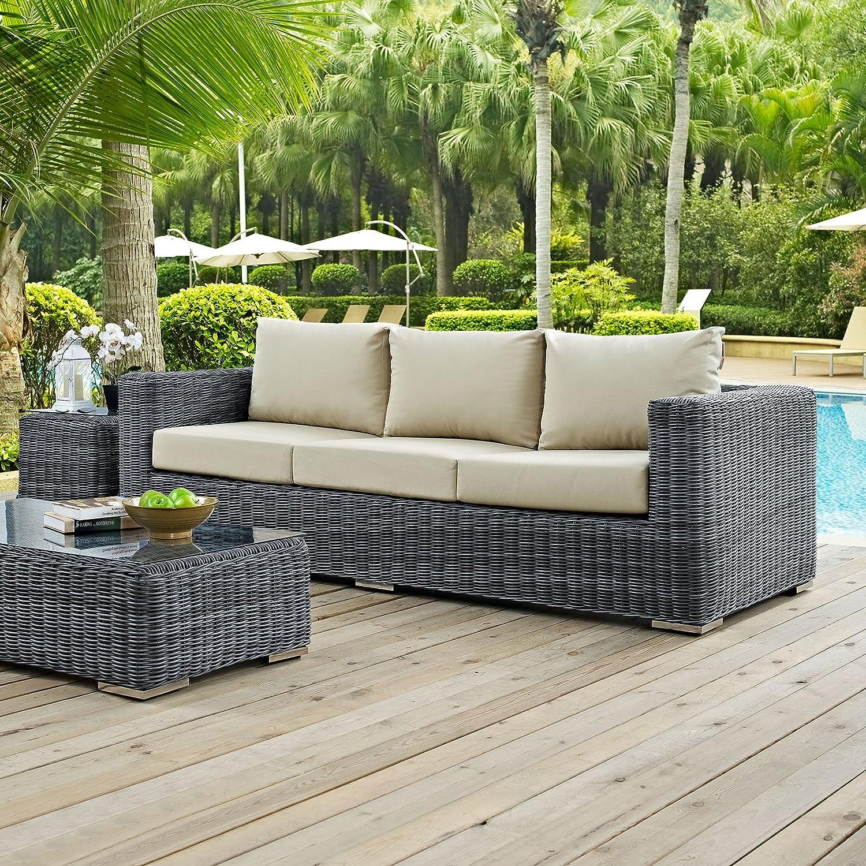 Modway Summon Wicker Rattan Outdoor Patio Sunbrella Sofa in Canvas Antique Beige : Garden & Outdoor