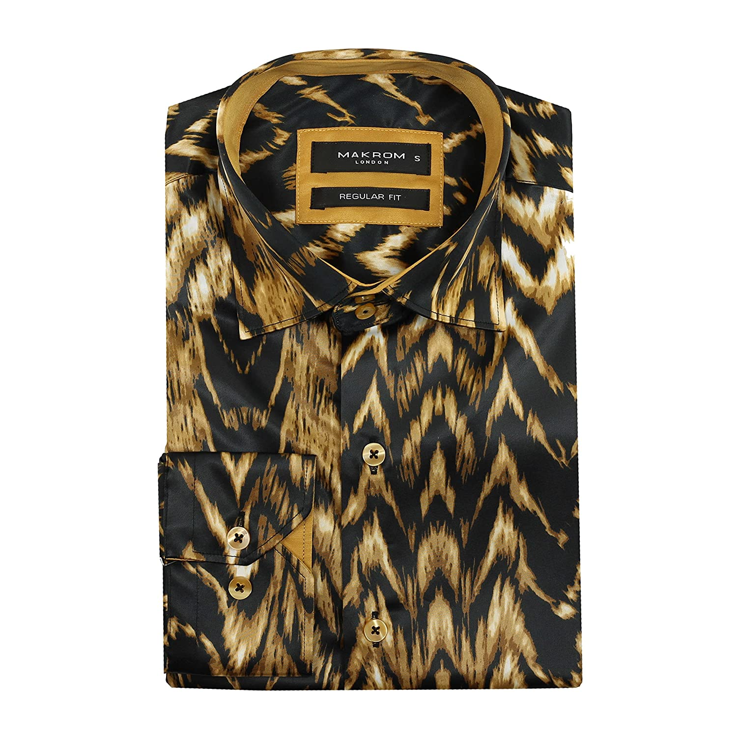 Makrom Mens Silk Satin Feel Designer Style Animal Print Smart Casual