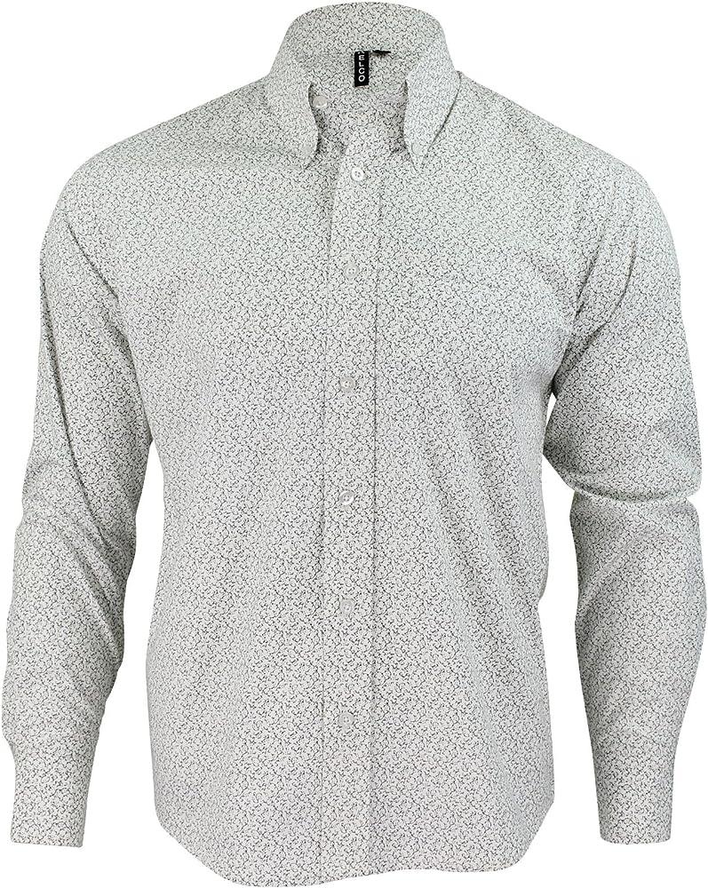 Relco - Camisa Casual - Manga Larga - para Hombre Blanco Y Negro Medium: Amazon.es: Ropa y accesorios