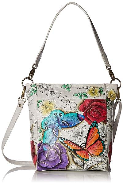 e68d611ee434 Anna by Anuschka Women's Genuine Leather Large Hobo Handbag | Hand Painted  Original Artwork | Zip-Top Organizer