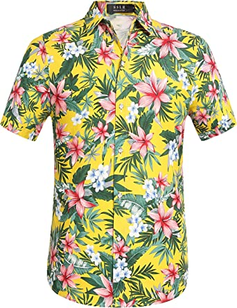 SSLR Camisa Manga Corta de Flores Tropicales Veraniega de Algodón Estilo Hawaiano para Hombre (X-Large, Amarillo): Amazon.es: Ropa y accesorios