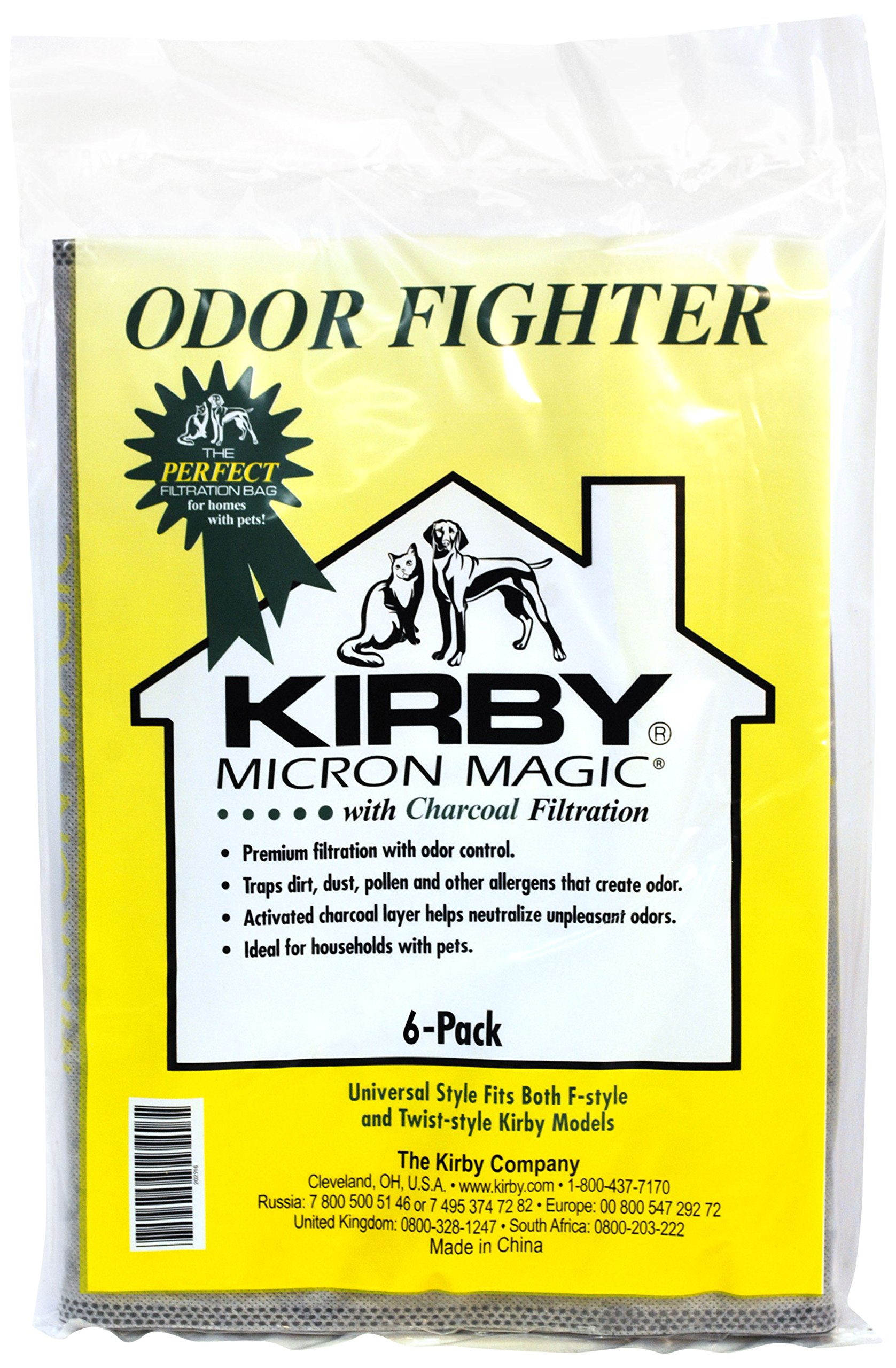 Kirby 202916 Odor Fighter Charcoal Filter Bag Disposable Vacuum Bag (6 Pack)