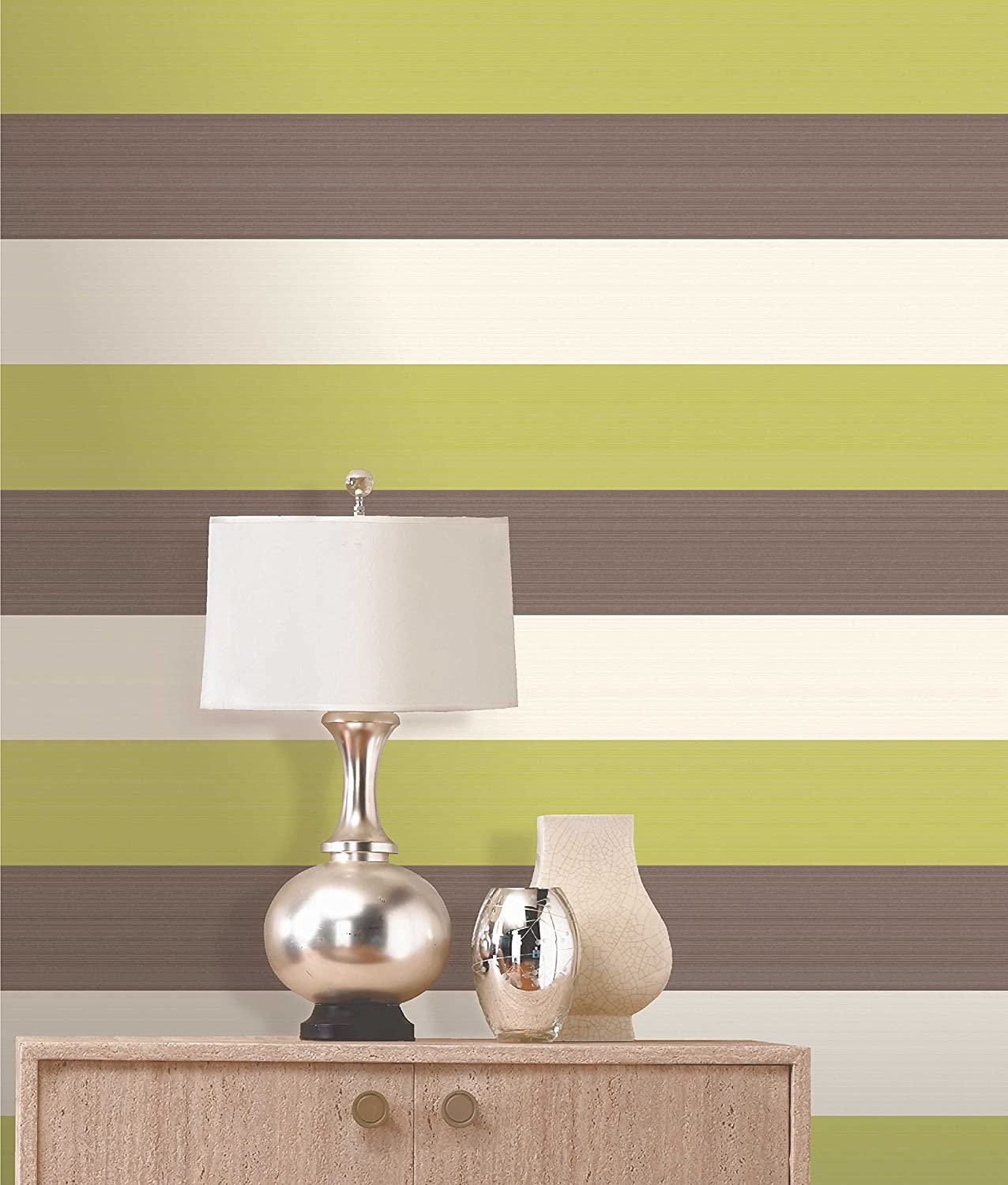 Olivia II Chocolate Cream and Green Striped Wallpaper 6156: Amazon ...