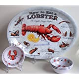 How To Eat a Lobster Oval Plates and Butter Dipping Bowls Set of 4 New Dishes