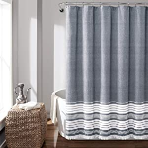 "Lush Decor, Navy Nantucket Yarn Dyed Cotton Tassel Fringe Shower Curtain, 72"" x 72"""