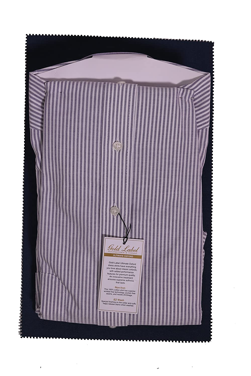 Gold Label Roundtree /& Yorke Non-Iron Regular Full-Fit Button Down Striped Dress Shirt Plum 15.5-33