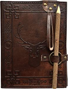 RK Leather Handmade Paper Notebook Diary from Prastara Handicrafts, Leather Journal (8X 6) Brown Color with Wooden Pencile Deer Diary
