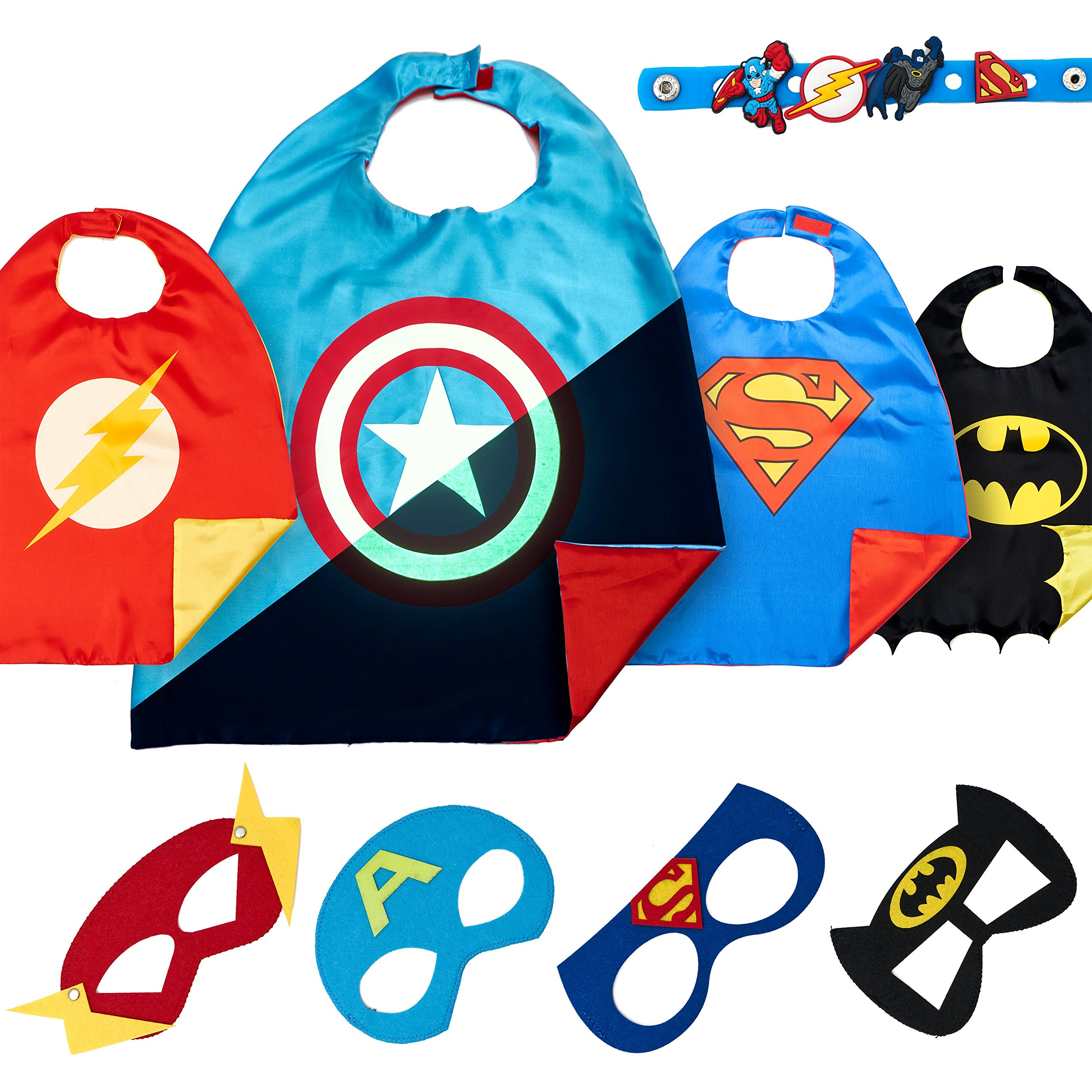 4 Superhero Capes for Kids - Super Hero Toys & Halloween Costumes - Birthday Party Supplies (Boys 1)