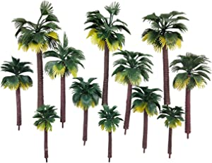 CSPRING 12PCS Plastic Model Trees Layout Rainforest Train Palm Tree Diorama Scenery for Home Outdoor Garden Décor